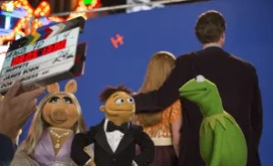 Muppets on the set.