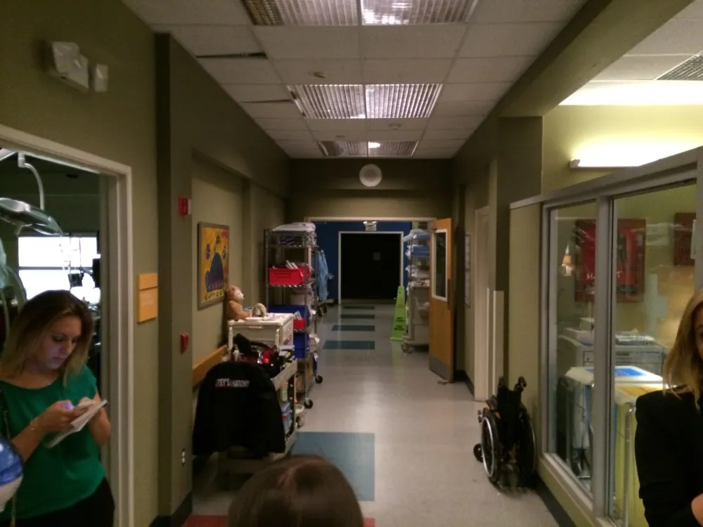 A hallway in the hospital set