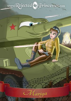 Sergeant Mariya Oktyabrskaya, the first female tanker to ever win the Hero of the Soviet Union award, and her tank, Fighting Girlfriend.
