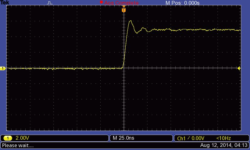 Zoom in of the rise time of a pin change on the Arduino.