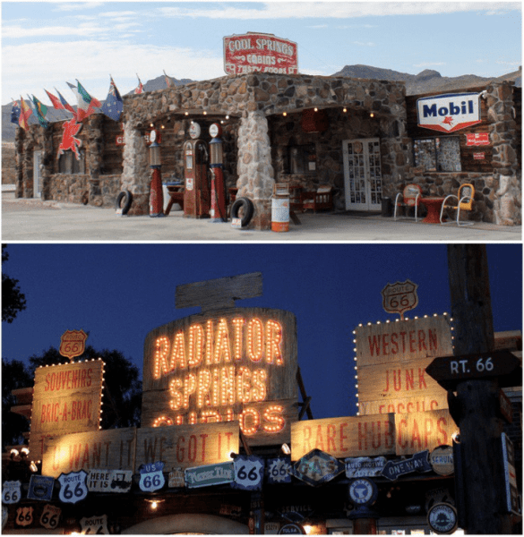 Cool Springs Cabins near Oatman, Arizona (top) and Lizzie's Radiator Springs Curios in Cars Land (bottom).