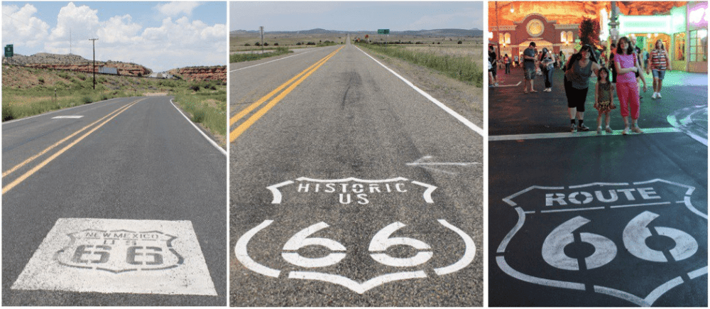 """Historic """"shield"""" stamps mark the long, lonely stretches along original stretches of Route 66 (sometimes I-40), but the Cars Land Route 66 stamp (far right) was a little more crowded."""