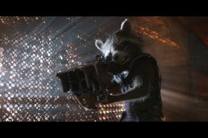 A raccoon and his big honkin' gun.