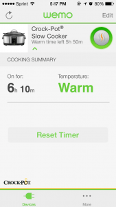 You can see how long your food has been done cooking. Screenshot: Jenny Williams