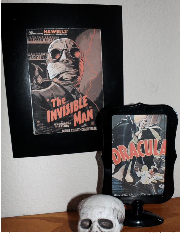 Framing vintage-style monster film posters is great for last-minute decorating.