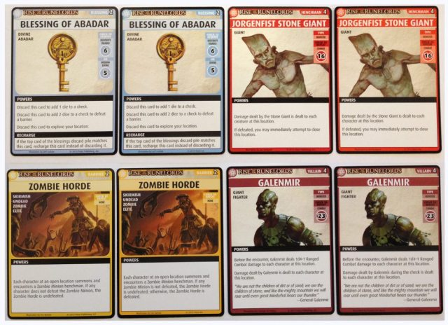 Shows card faces from errata printing and second print run.