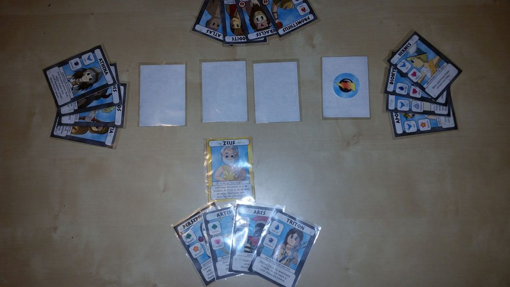 Playing the print-and-play version, with sleeved cards. Photo by Rob Huddleston.