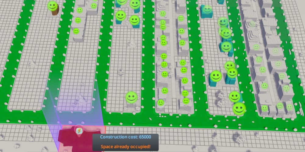 A grid of roads show green as a hospital is placed, showing they have good access to health services. Smiley faces spread out from the hospital as citizens react to the new service.