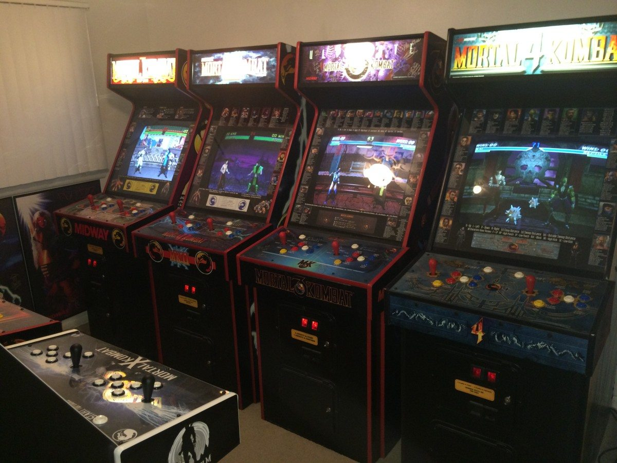 Row of Mortal Kombat arcade games
