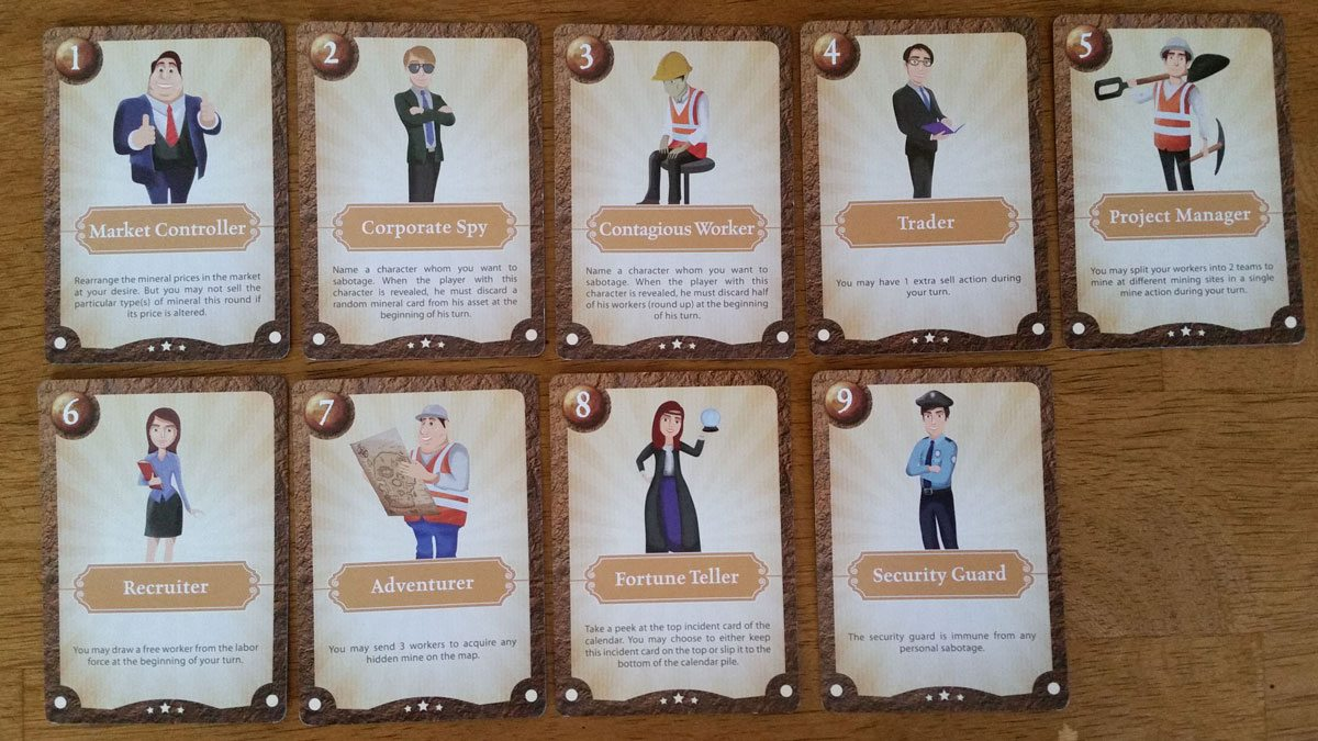 The character cards. Photo by Rob Huddleston.