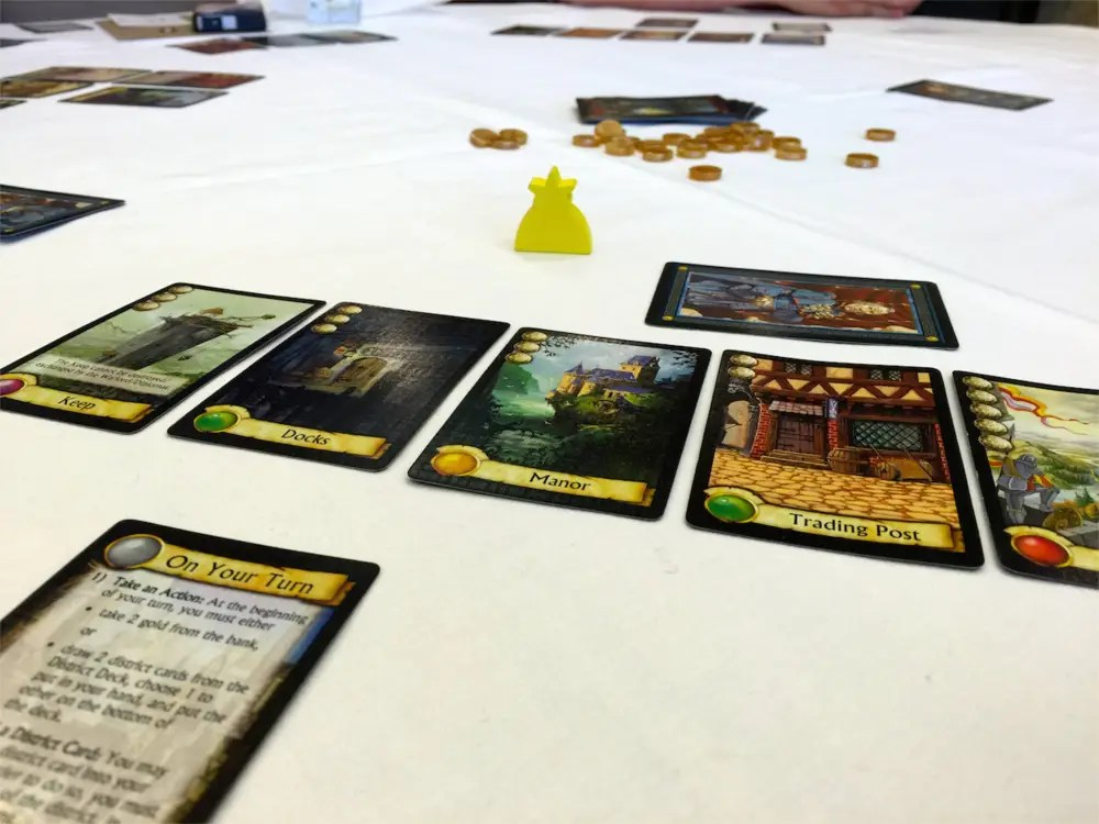 Citadels card game in play.