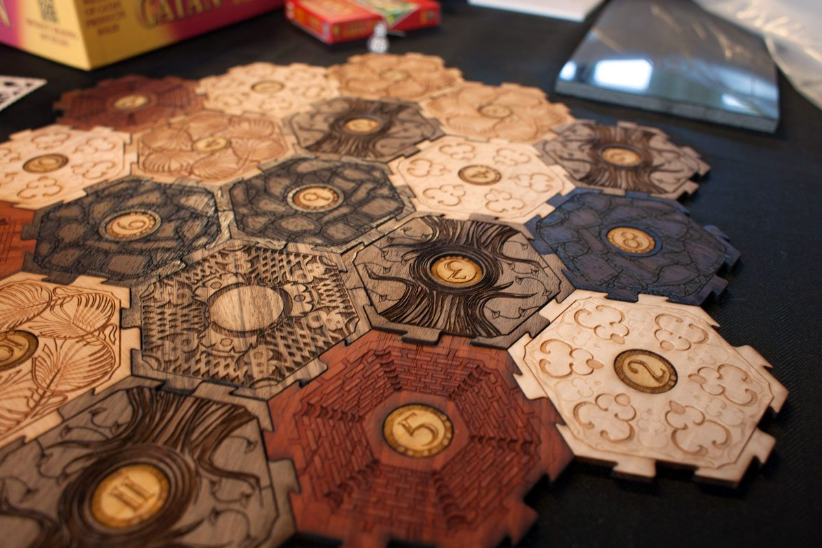 Glowforge Settlers of Catan tiles