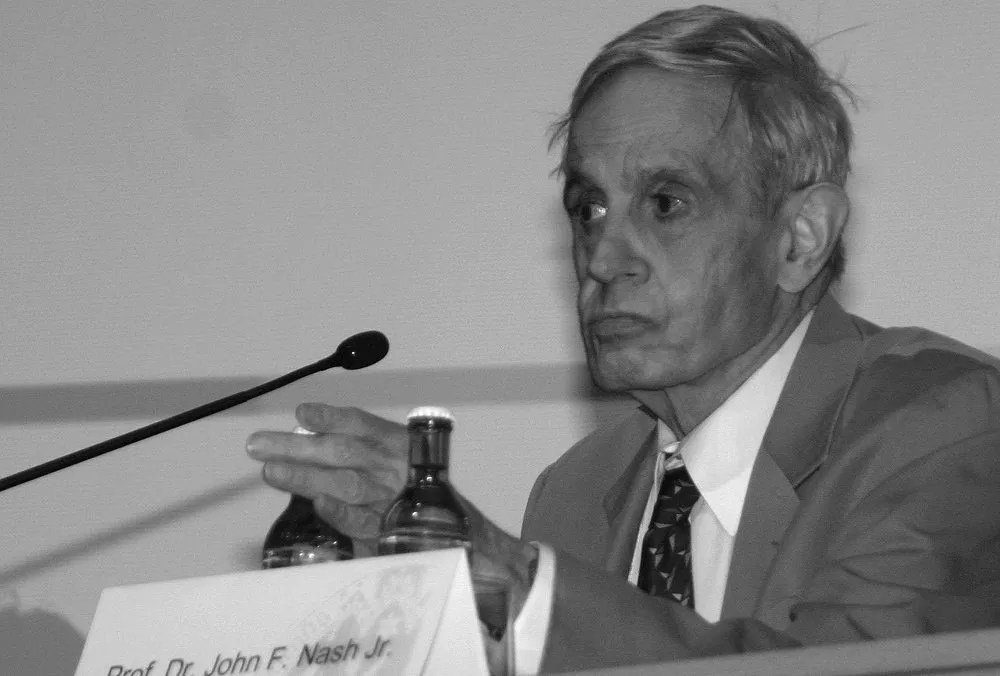 John Forbes Nash, American mathematician and winner of the Nobel Prize in Economics 1994, at a symposium of game theory at the university of Cologne, Germany