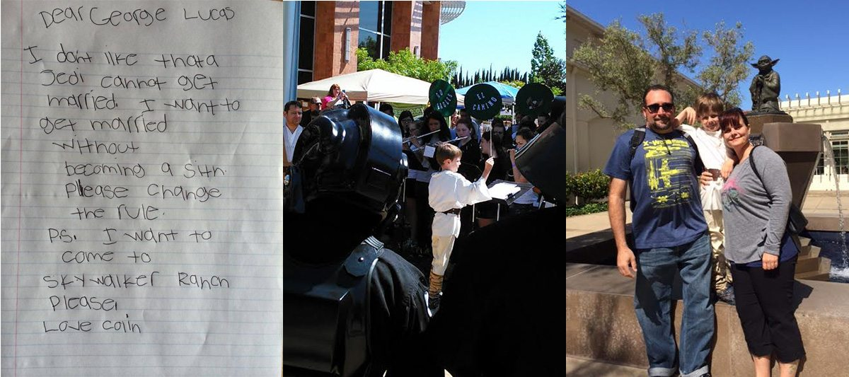 From left to right: The letter that started it all, Colin leading the orchestra at Intergalactic Expo, and Colin with his family outside LucasFilm. Images by: Peggy Gilpatrick.