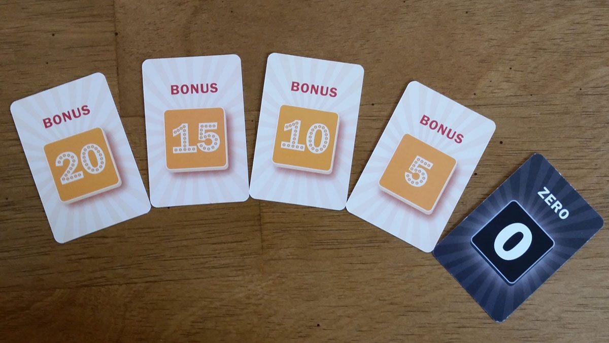 The bonus point cards. Image by Rob Huddleston.