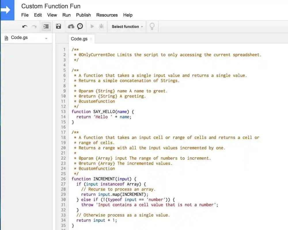 Screen capture of Google Sheets' Script Editor.