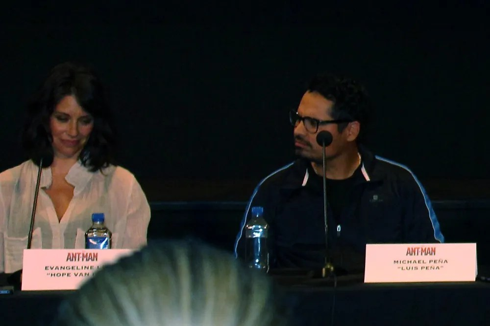 Evangeline Lilly and Michael Peña banter.