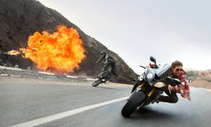 It wouldn't be a Mission: Impossible movie without a chase. © 2015 Paramount