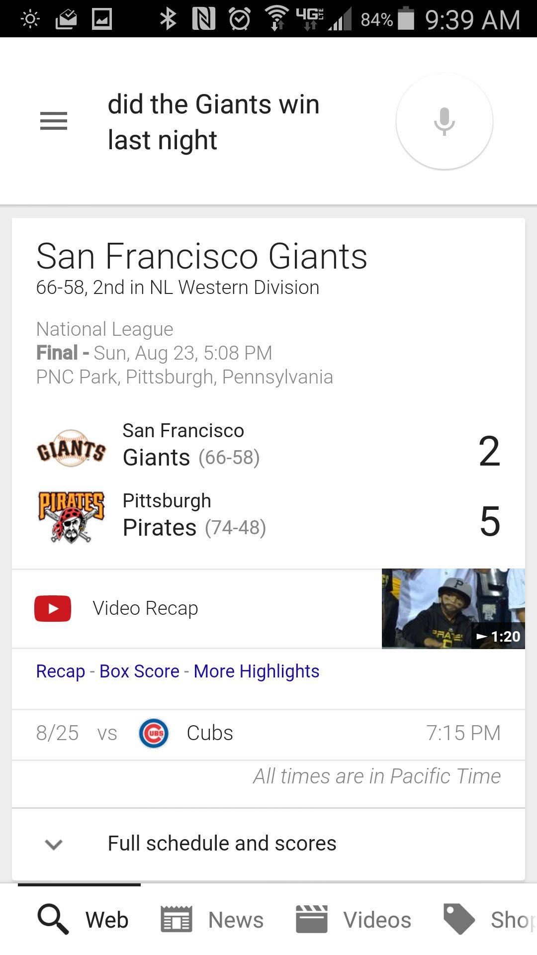 The Giants score via Google Now.
