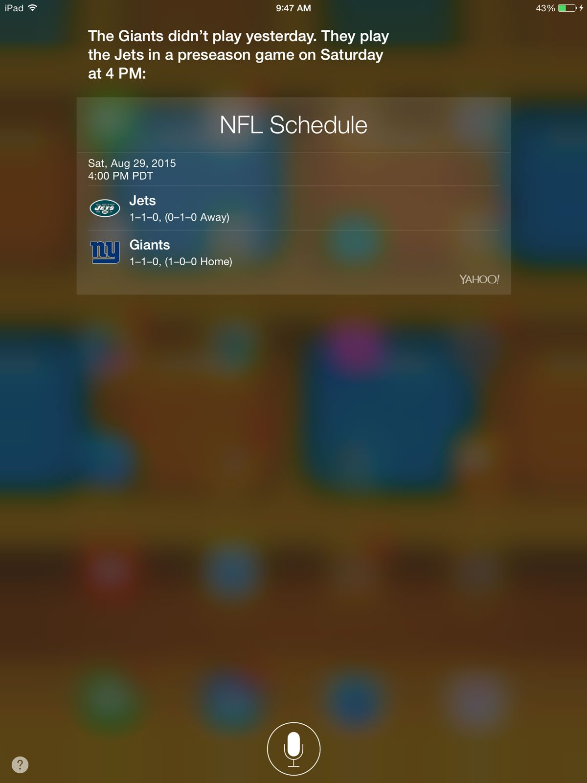 Siri's response to the Giants question