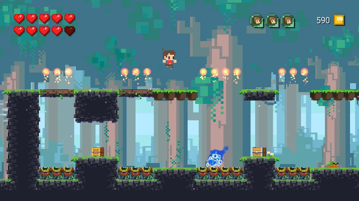 A screen shot from Adventures of Pip where a small boy is jumping onto a platform, with a subterranean level also visible.