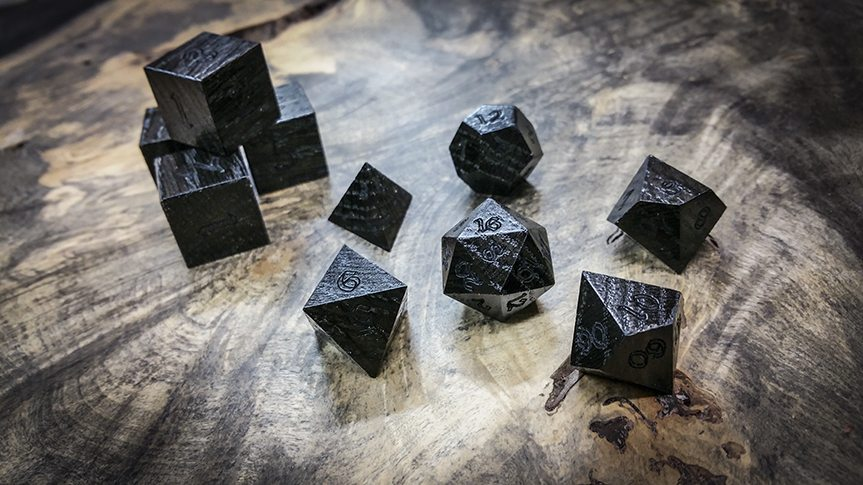 Bog Oak Dice. Image credit Artisan Dice.