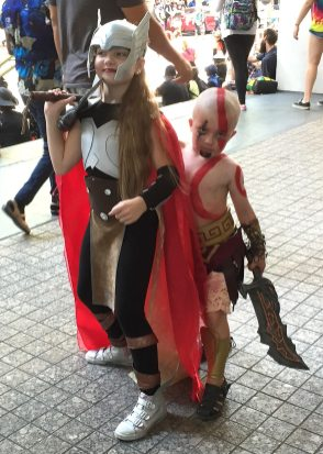 Little Kratos wanted to put an end to his big sister's Lady Thor.