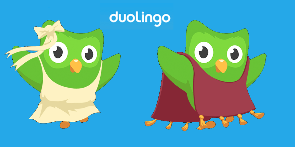 Duo is Duolingo's mascot, and shows up primarily in the app.