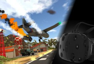 A scene from Final Approach showing an aircraft coming in for a landing, port engine on fire. On the right is a HTC Vive virtual reality headset.