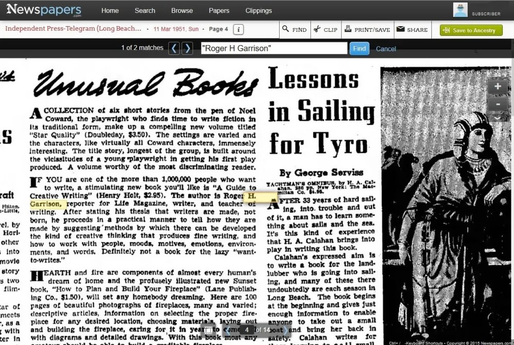 This newspaper page has a blurb about my grandfather's newly published book! Found on newspapers.com.