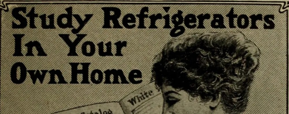 Electric refrigerators began to edge out iceboxes in the home market in the early 20th century. (Collection of Boston Library; no known copyright restrictions).