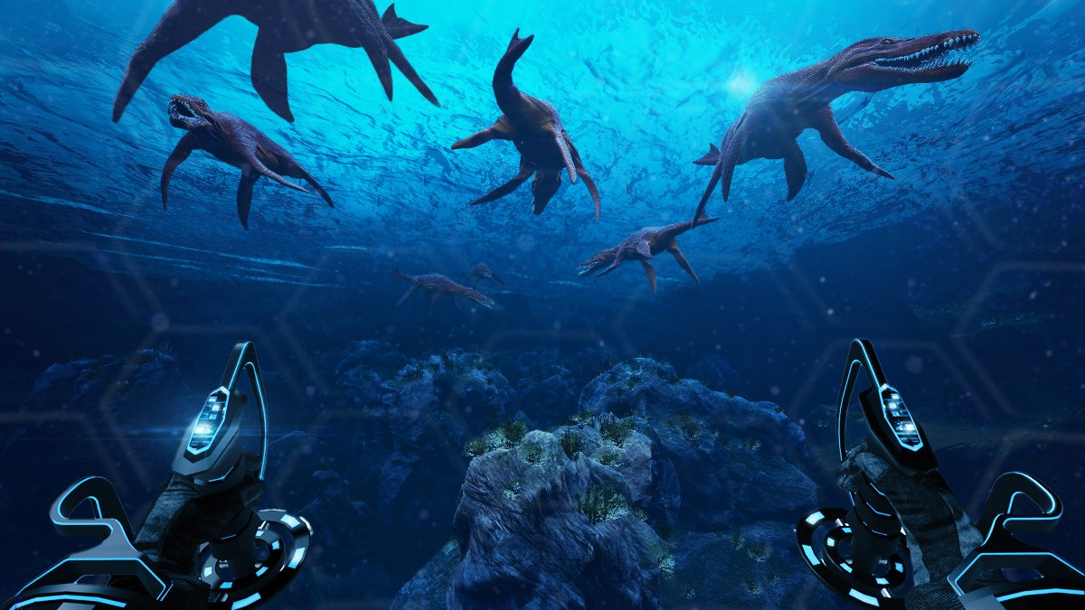 An underwater scene from first person view. The pilot's hands are visible holding controls. Dinosaurs swim in the distance.