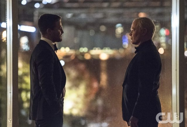 """Arrow -- """"Brotherhood"""" -- Image AR407B_275b.jpg -- Pictured (L-R): Stephen Amell as Oliver Queen and Neal McDonough as Damien Darhk -- Photo: Cate Cameron/The CW -- �© 2015 The CW Network, LLC. All Rights Reserved."""