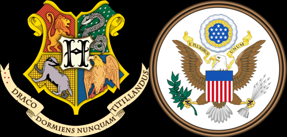 "Hogwarts Crest Art by https://commons.wikimedia.org/wiki/File:Hogwarts_coat_of_arms_colored_with_shading.svg ""Great Seal of the United States (obverse)"" by U.S. Government - Licensed under Public Domain"