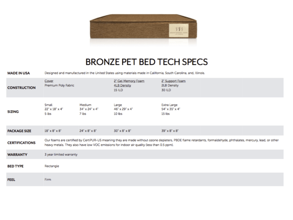 Bronze Pet Bed Spec Sheet