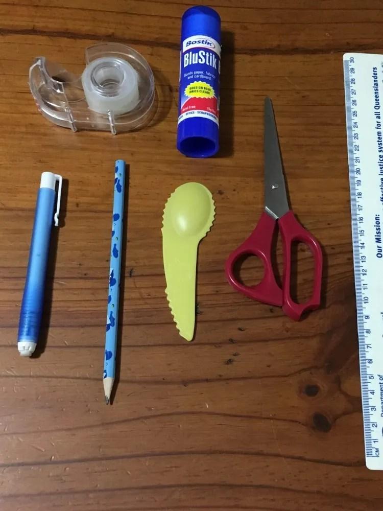 DIY Elephant Mask utensils