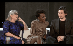 """Uh, yeah, what?"" Lupita Nyong'o reacts to a question from Mindy Kaling about her character's relationship with Yoda, who is not in the film."