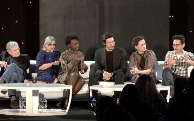 Lawrence Kasdan, Carrie Fisher, Lupita Nyong'o, Adam Driver, Daisy Ridley and J.J. Abrams discuss Star Wars: The Force Awakens at the global press event in Los Angeles.