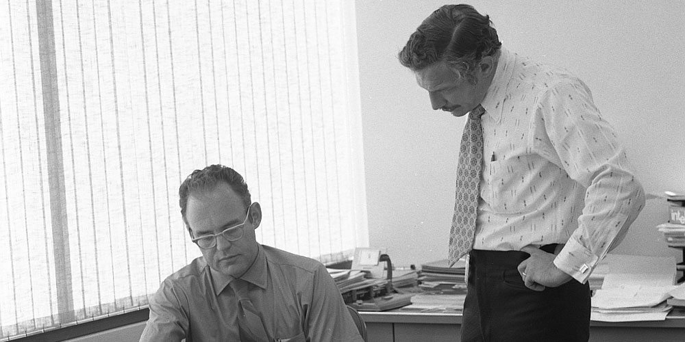 Robert Noyce (left) and Gordon Moore at Intel. Image credit: By Intel Free Press [CC BY-SA 2.0 (http://creativecommons.org/licenses/by-sa/2.0)], via Wikimedia Commons
