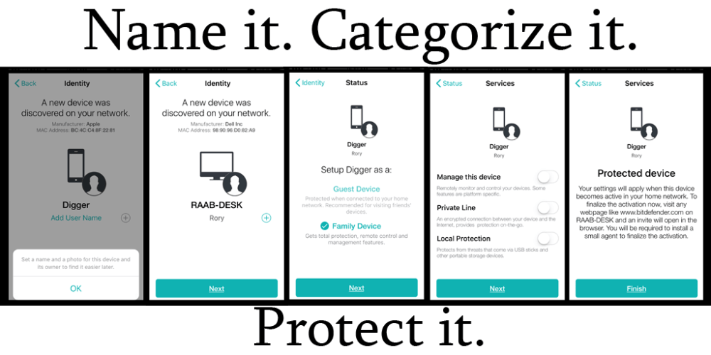 The app walks you through labeling your device, and setting up your preferences for security! Image: Rory Bristol - Screenshots from Bitdefender BOX app.