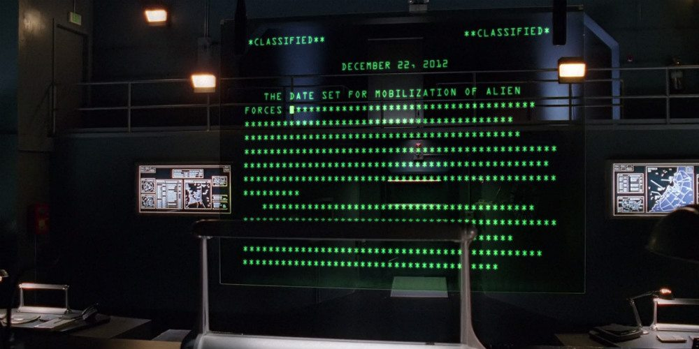 Computer Text reveals the launch of the impeding alien invasion