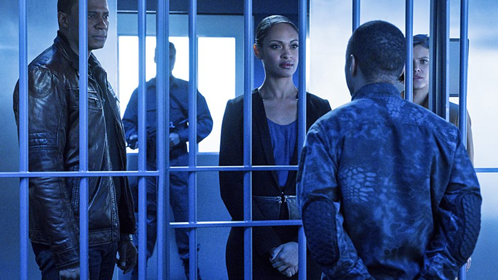"""Arrow -- """"A.W.O.L."""" -- Image AR411b_0207b.jpg -- Pictured (L-R): David Ramsey as John Diggle, Cynthia Addai-Robinson as Amanda Waller, Eugene Byrd as Andy Diggle and Audrey Marie Anderson as Lyla Michaels -- Photo: Liane Hentscher/ The CW -- �© 2016 The CW Network, LLC. All Rights Reserved."""