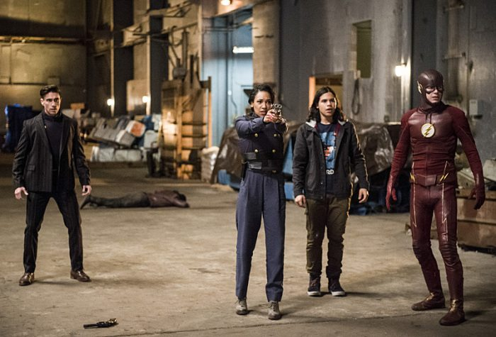"The Flash -- ""Welcome to Earth-2"" -- Image FLA213a_0110b -- Pictured (L-R): Michael Rowe as Floyd Lawton, Candice Patton as Earth 2 Iris West, Carlos Valdes as Cisco Ramon, and Grant Gustin as The Flash -- Photo: Diyah Pera/The CW -- �© 2016 The CW Network, LLC. All rights reserved."