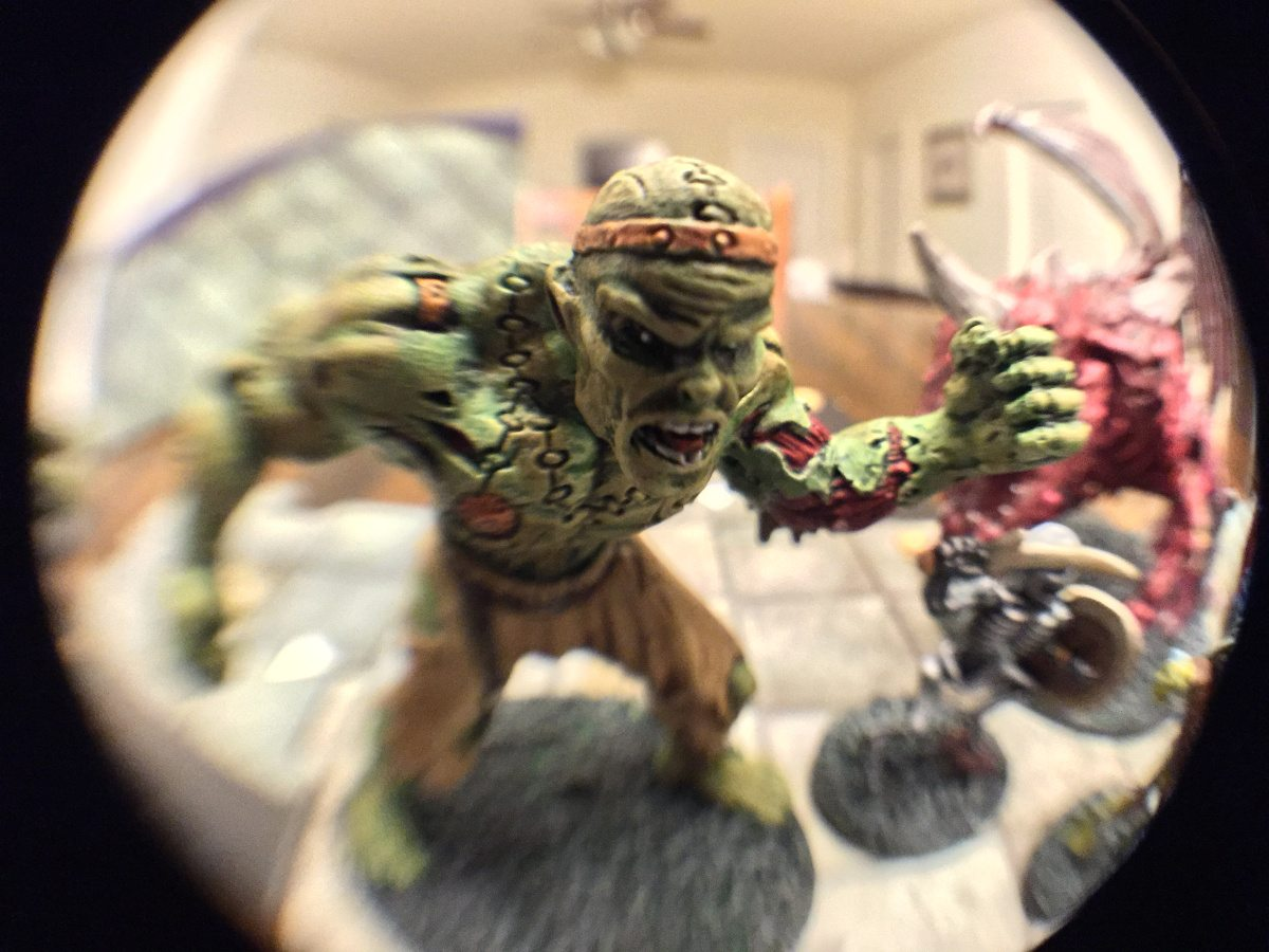 "Fisheye closeup of a painted flesh golem from ""Castle Ravenloft""."