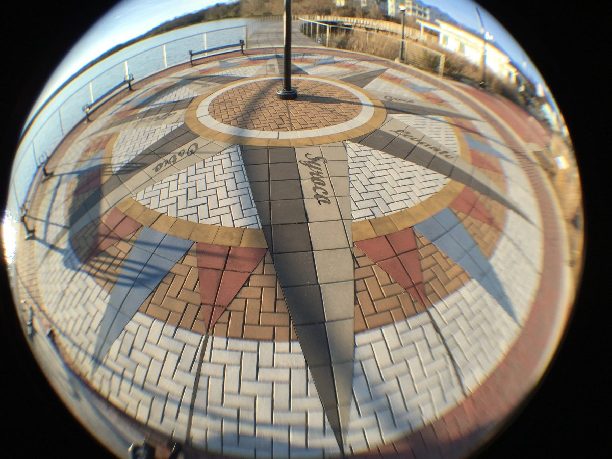 A fisheye view of the brickwork at Leonardtown MD Wharf.