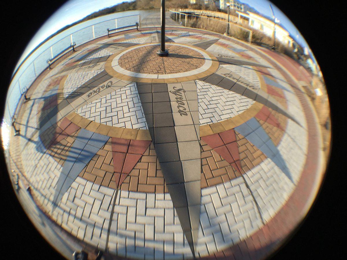 A fisheye view of the brickwork at Leonardtown MD Wharf.