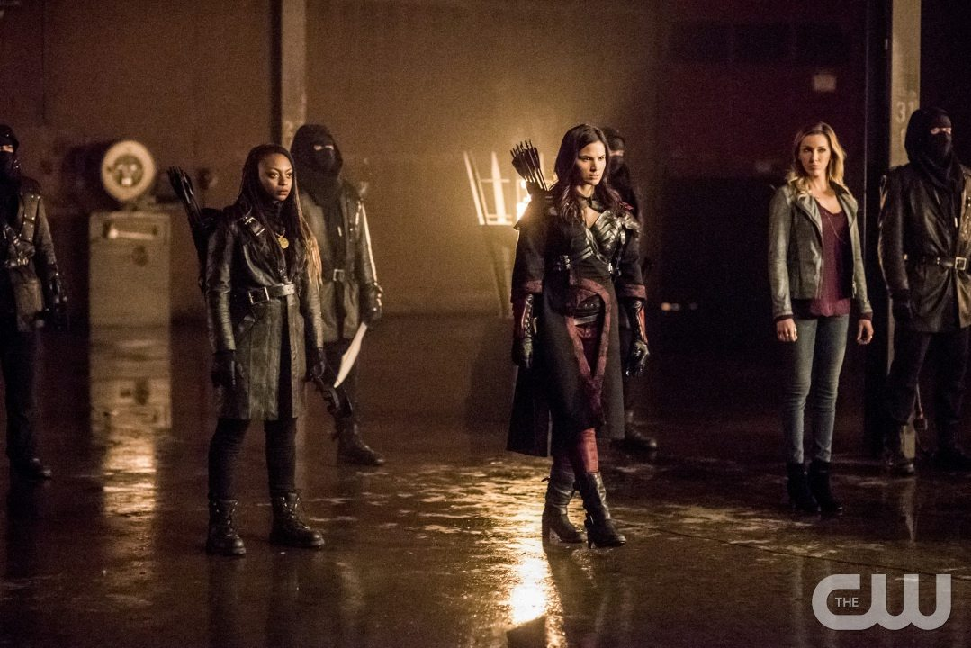 "Arrow -- ""Sins of the Father"" -- Image AR413b_0330b.jpg -- Pictured (L-R): Natasha Gayle as Talibah, Katrina Law as Nyssa al Ghul, and Katie Cassidy as Laurel Lance -- Photo: Dean Buscher/ The CW -- �© 2016 The CW Network, LLC. All Rights Reserved."