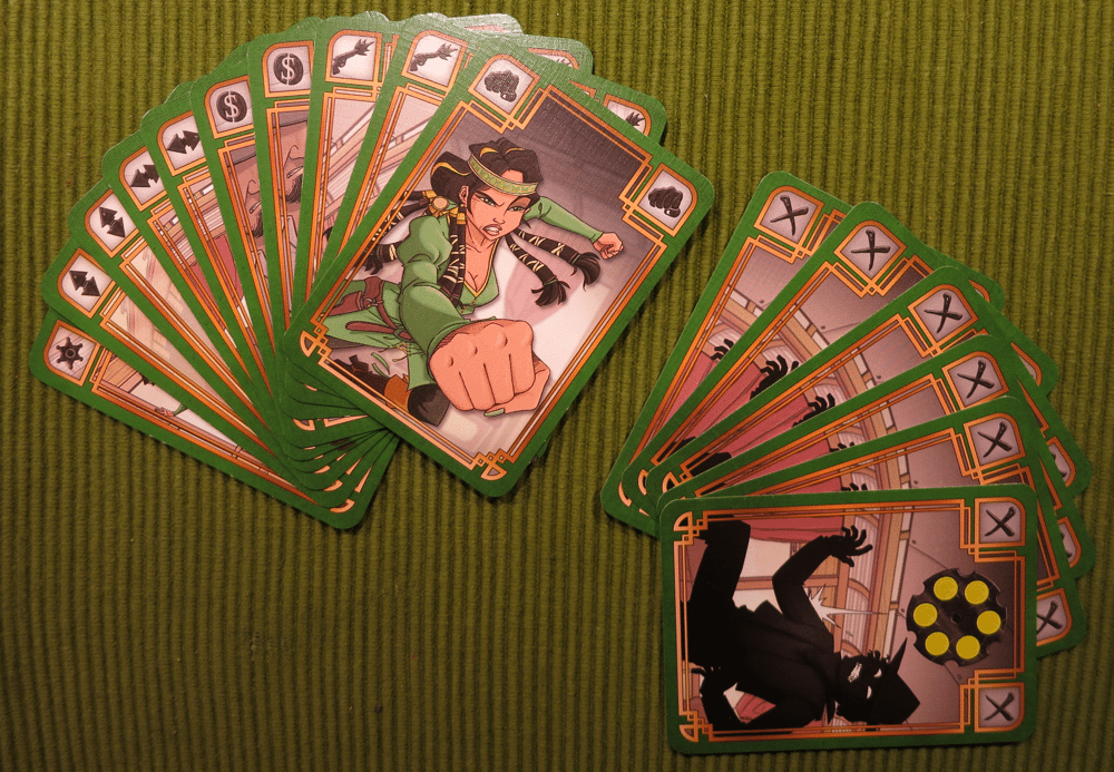 """Action cards (left) and bullet cards (rights) of """"Cheyenne""""."""