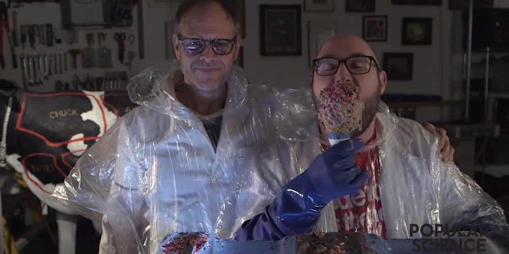 Watch Culinary Mad Scientist Alton Brown Create a Gallon of Ice Cream in 10 Seconds