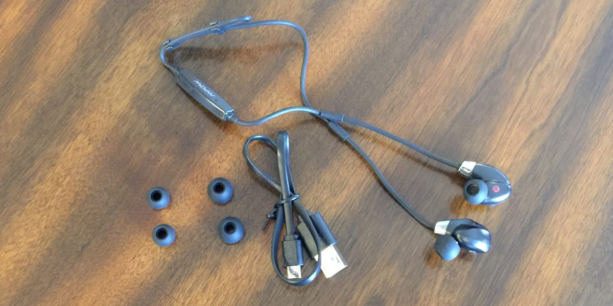 In-ear headphones, a USB cable, and replacement inserts for the ear canal.